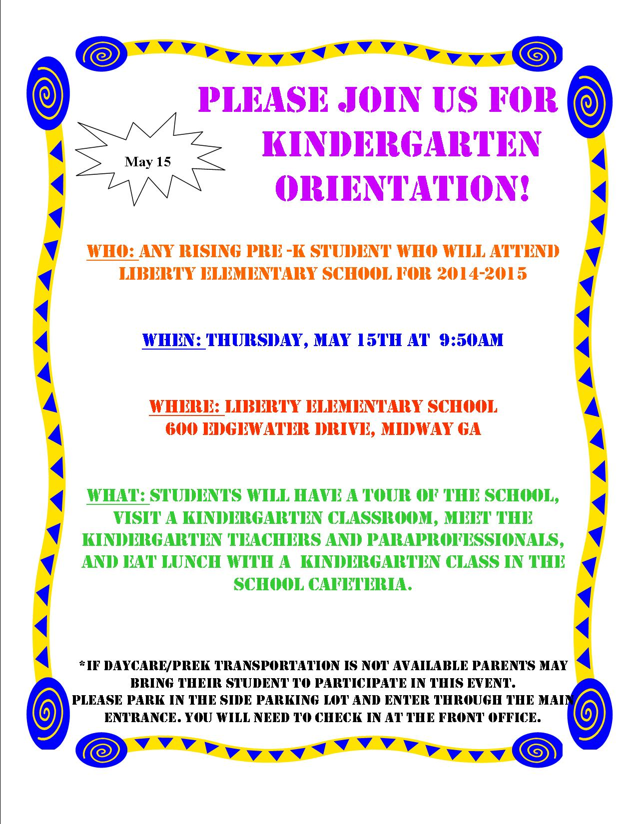 kindergarten orientation thursday at am liberty 2014 kindergarten orientation daycare flyer